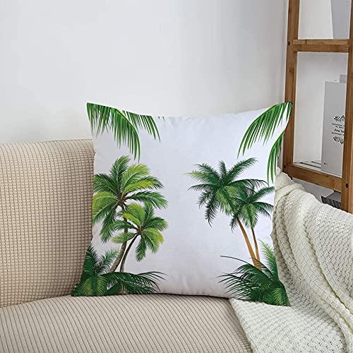 Fundas de cojines sencillas y clásicas de 45 x 45 cm,Tropical, palmera de coco Nature Paradise PlHormigas Folla,ideales para casa, oficina o para la espalda en el coche - Fundas de Poliéster para sofá