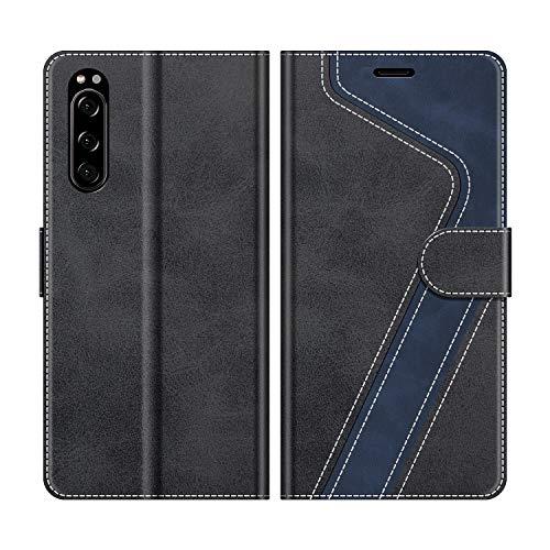 MOBESV Handyhülle für Sony Xperia 5 Hülle Leder, Sony Xperia 5 Klapphülle Handytasche Case für Sony Xperia 5 Handy Hüllen, Modisch Schwarz