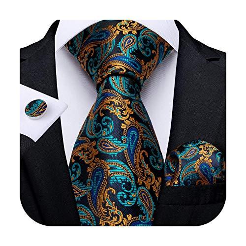 cravatte Uomini Cravatta Oro Blu Paisley Matrimonio Cravatta Per gli Uomini Hanky Gemelli di Seta Uomini Cravatta Set di Festa di Moda di Affari Mj730