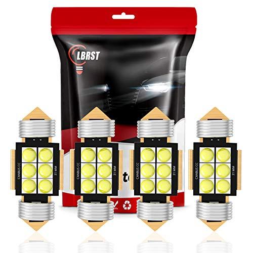 LBRST DE3175 Led Bulb 31mm Festoon Led Bulb 6000K 12V Super Bright White CANBUS 6SMD Chipsets, DE3022 LED Bulb, DE3021 LED Bulb, 6428 LED Bulb for Interior Dome Map Trunk Cargo Lights, Pack of 4