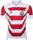 Maillot de Football de Compétition D'entraînement pour Hommes 2019 Équipe de La Coupe du Monde Japon Maillot de Rugby pour Hommes, T-Shirt Rugby Nouvelle Version Maillot De Rugby,White-XXLarge