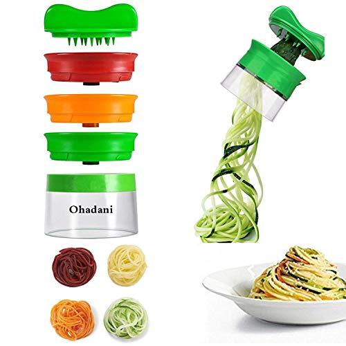 Ohadani Mano, de 3Cuchillas, rallador de Verduras, Verduras para Espaguetis para Zanahoria Cortador de Verduras y, plástico, Verde, picadora