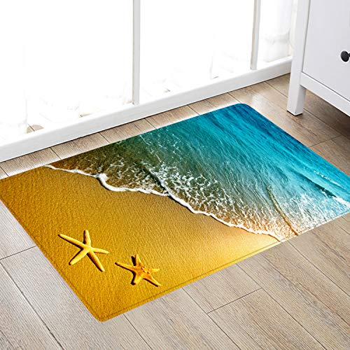 Non Slip Bath Rugs Sponge Foam for Bathroom,Durable Flannel Mat Bright 3D Print Rug for Living Room, Absorbent Water Clearance MatS for Forlaundry Room and Kitchen, Starfish Beach Themed Decor carpt