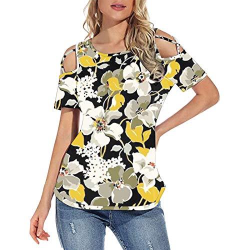 Blusa holgada con estampado floral y hombros descubiertos para mujer, blusa de manga corta para mujer, cómoda
