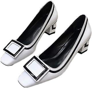 [VALER] パンプス スクエアバックル 歩きやすい 痛くない 脱げない 大きいサイズ 卒園式 小さいサイズ 美脚 靴 黒 歩きやすい 走れる フォーマル 卒業式 入園式 入学式 通勤 スクエアトゥ ローヒール ディース パンプス