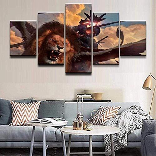 wodclockyui 5 Piezas Cuadro de Lienzo - Juego Party Magic Pintura 5 Impresiones de imágenes Decoración de Pared para el hogar Pinturas y Carteles de Arte HD 200cmx100cm Sin Marco