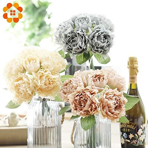 HATABO Flower Artificial Peony Flower.Cutter 1Bouquet 5 Colors Artificial Flowers European Silk Peony Flower Wedding Favors for Home Garden Wedding Mother's Day Decoration (Random)