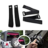 Durable Tie Down Straps Soft Top Straps Window Roll Up Snap Straps Sunrider Straps for Jeep Wrangler 2007-2020(Black,Set of 4 Pieces)
