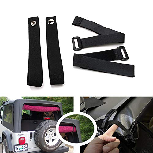 Jade Onlines Durable Tie Down Straps Soft Top Straps Window Roll Up Snap Straps Sunrider Straps for Jeep Wrangler 2007-2020(Black,Set of 4 Pieces)