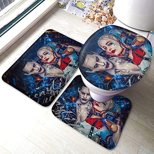 Harley Quinn Clown Girl und Joker - 3-teilige saugfähige Badewanne & Badematte & rutschfeste Badematte + Konturmatte + Toilettenbezug