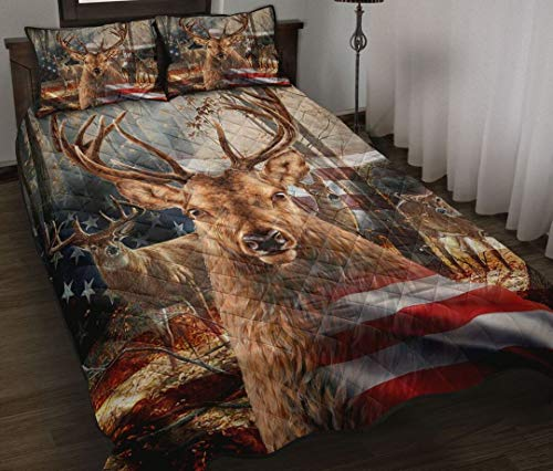Deer American Flags Quilt Sets Xmas King Queen Twin Throw Size Quilt Christmas Birthday for Kids Son Daughter from Mom Mommy Mother Dad Daddy Father Grandma Aunt