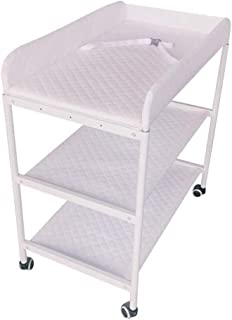 Diaper Massage Station Newborn Changing Table On Wheels,Baby Bathing Massage Cot Foldable Changing Diapers Dresser with Pad Multifunctional Storage Folding Massage Touch Table (Color : White2)