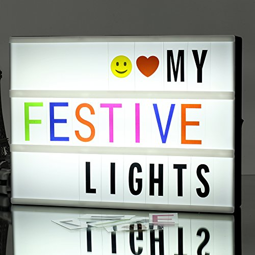 Cinema Light Box A4 Size DIY LED Light Box, Include 271 Changeable Letters with Emoticons, Symbols and Numbers Apply for Home and Wedding Decor