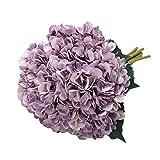 Tifuly Artificial Hydrangea Flower, 5 PCS Ramos de hortensias de Seda de Tallo Largo para Bodas, hogar, Hotel, decoración de Fiestas, centros de Mesa (Púrpura)