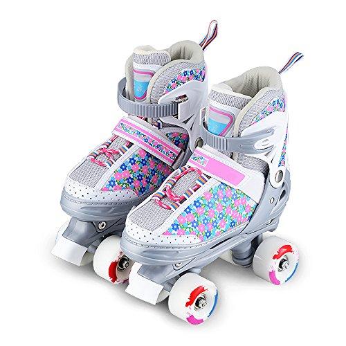 ZCRFY Training Zweireihige Rollschuhe Mädchen Größenverstellbare Schuhe Rollschuhe Kinder Erwachsene Kinder Jungen Atmungsaktive Rollschuhe Für Anfänger Kleinkinder Kinder Inlineskates,Pink-XS