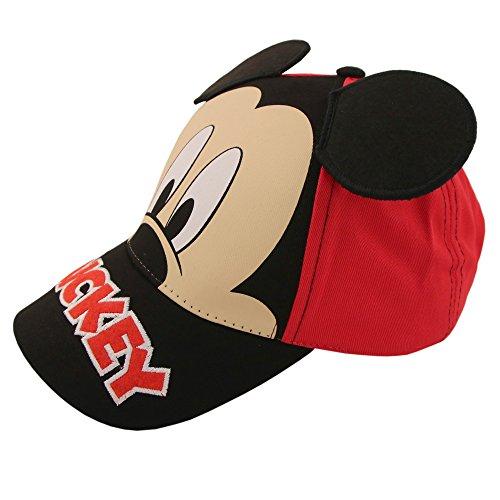 Disney Jungs Mickey Mouse Charakter Baumwolle Baseball Cap Kleinkind-Junge - Alter 2-4 - 51C Rot schwarz
