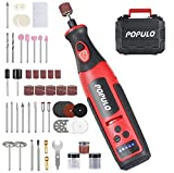 Cordless Rotary Tool POPULO 8V Lithium with 124-Piece Rotary Tool Accessories, Power Rotary Tool 2000mAh Rechargeable, Rotary Tool for Dog Nail, Engraving Tool for Wood, Plastic, Glass, Metals