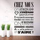Baobaoshop Art Design décoration de la Maison Pas Cher Vinyle français Citation règles Mots Sticker Mural Amovible Maison décor caractères décalques dans Les Chambres 3 58 cm x 90 cm