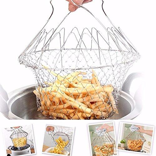 BFORS Faltbare Friteuse Korb, 304 Edelstahl Friteuse Filter, Küche Kochwerkzeug, für frittierte Lebensmittel oder Obst