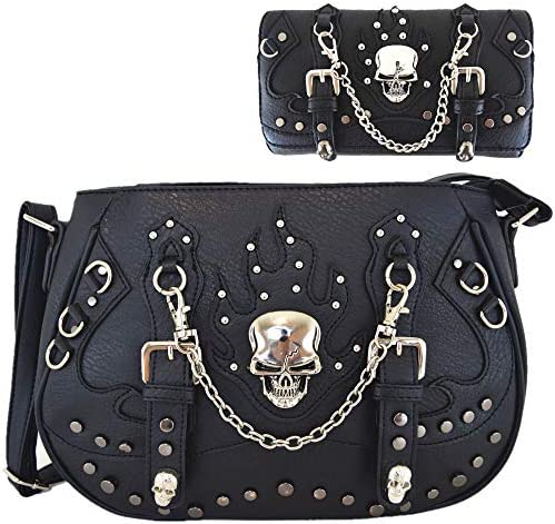 Punk Gothic Skull Chain Crossbody Handbag Concealed Carry Purse Women Single Shoulder Bag Wallet product image