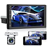 AMPrime Android 9.0 Single Din Car Stereo with Bluetooth 7 Inch Touch Screen GPS Navigation Support WiFi/Dual USB/DVR Input/Mirror Link for Android iOS Phone + Backup Camera