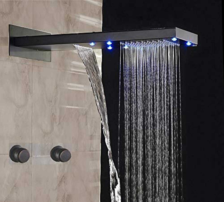 LED-Licht l eingerieben Bronze Badezimmer Dusche Wasserhahn Set Niederschlag und Wasserfall Duschkopf Mischbatterie