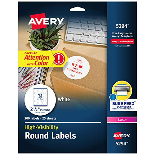 "Avery 5294 High Visibility 2.5"" Round Labels"