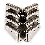 4 x SO-TECH® Winkelbeschlag Stahl vernickelt 125 x 125 x 54 mm mit seitlichen Anschraublöchern