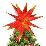 Qijieda 3D Etoile Sapin Noel Lumineuse - 18inch Batterie de Lumière d'étoile de Noël à LED avec Minuterie, Etoile de Noel pour Sapin Utilisé pour Décorer Les Arbres de Noël, Les Balcons(Red-Yellow)