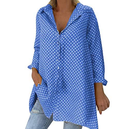 ITISME Maglia Manica Lunga Donna Taglie Forti Nuovo Camicia Casual Loose Stampa a Pois Camicia Collo a V Sexy Camicie Donna Maglietta Bavero Top Manica Lunga Donna