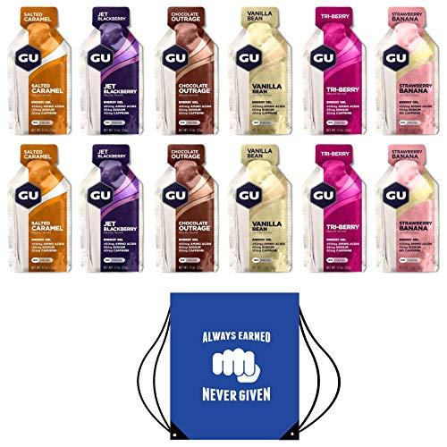 GU Energy Gels - Paquete de 12 Geles (Sabores Mixtos) - Incluye Bolsa Gratuita con Cordón y Texto Motivacional Ideal Para Zapatos o Equipo Para Correr (Paquete Mixto Original)