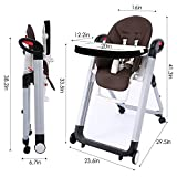 Portable Convertible Restaurant High Chair for Babies and Toddlers with 5-Point Harness, Foldable Dining Table with 6 Level Adjustable Height, Removable Swing Open Tray (US Stock) (5067-Dark Brown)