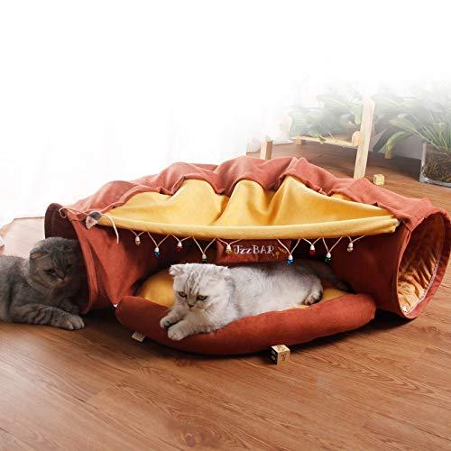 KaBurger® Katze Tunnel Pet Cat Play Tunnel Tube Kätzchen Spielzeug,Faltbar Katzentunnel Katzenspielzeug Rascheltunnel für Katzen (Rotbraun)