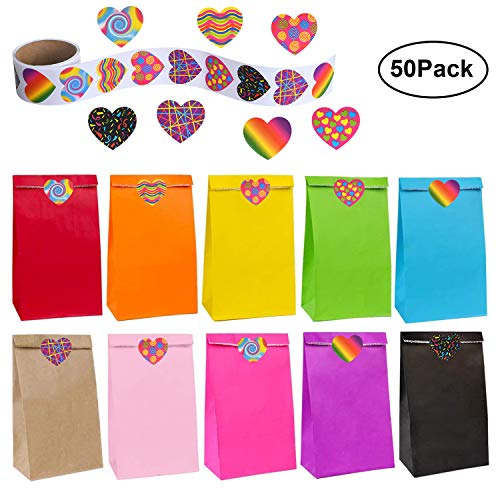 flintronic Bolsas de Regalo, 50 pcs Bolsa de Papel Kraft Bolsas de Papel en 10 Colores (+ 100 Piezas Lindas Pegatinas), para Fiestas, Ceremonias de Graduación, Bodas, Aniversarios, Navidad etc