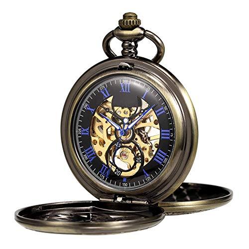 HSXQQL Taschenuhr Herren Damen Taschenuhr Mechanisches Skelett Eagle Wings Double Hollow Case Römische Ziffer mit Kette Geschenkbox, Bronze