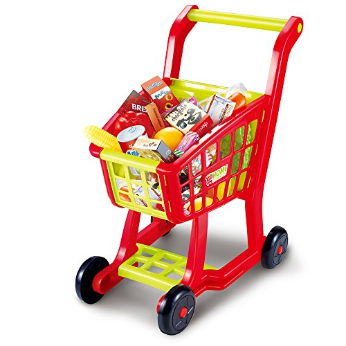 Shopping Cart Toy, Seprovider Kids Supermarket Cart Simulation Shopping Trolley Toy with 27 Pieces of Fruits, Vegetables, Food, Pretend Play Toy Grocery Cart Yellow/Red