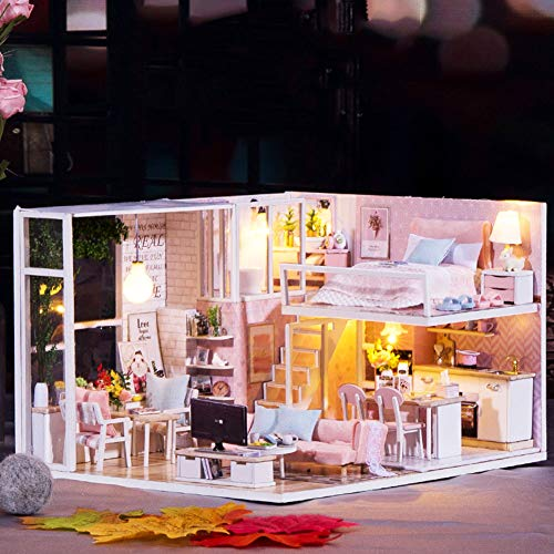 Yinuoday Dollhouse Miniature Kit with Furniture, DIY Wooden Dollhouse with LED DIY Mini Doll House Plus Dust Proof and Music Movement DIY House Kit for Adults and Teens (05)