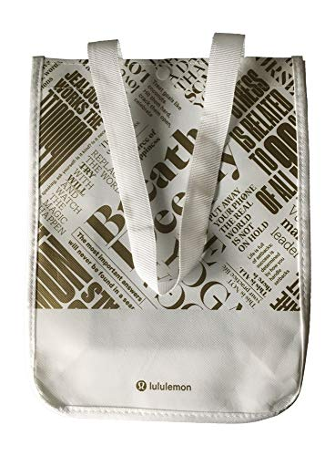 Lululemon 20th Anniversary Small Reusable Tote Carryall Gym Bag (White/Gold)