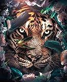 DERFV Animales y Plantas creativos Hoja León y Tigre Pintura al óleo Obra de Arte Pintura al óleo Realismo Arte Pintura en Lienzo