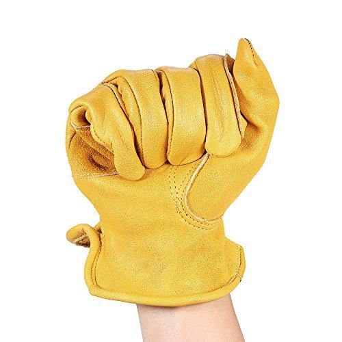 KKmoon 1 Paar Rindsleder Arbeit Handschuhe Herren, Arbeitshandschuhe Damen, Montagehandschuhe Sicherheit Schutzhandschuhe für Gartenarbeit Fahrradtraining Schweißarbeit Maschinenmontage Gelb Size XL