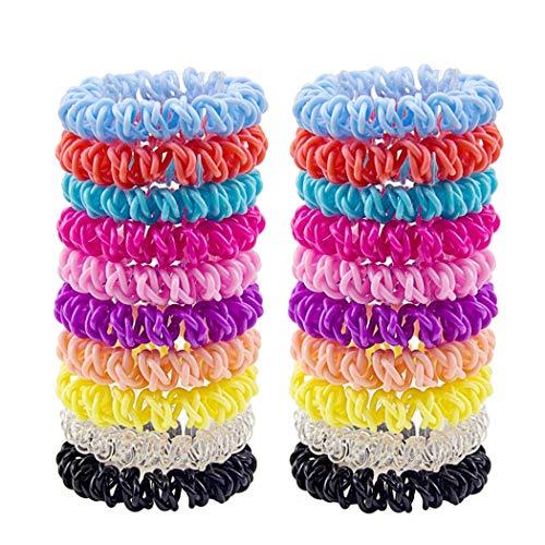 Kapmore Scrunchies fluwelen haarelastiekjes 20 stuks haarspoel spiraal 3-in-1 telefoonkabel haar elastische haarring paardenstaart houder