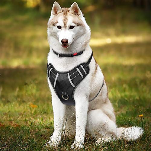 TIANYAO Dog Harness No Pull Reflective Oxford Material Soft Pet Vest Adjustable for Large Dogs Easy Control Harness with Dog Collar (L, Black)