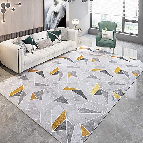 Kunsen La Alfombra Creativo Grande Alfombra Alfombra Grande de Lujo Moderno con patrón Irregular geométrico Amarillo-Gris Suave Comedor La Alfombra 60 * 160cm