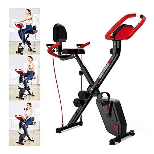 CMJM Bicicleta estática plegable para el hogar, 8 niveles, con imán ajustable, bandas de entrenamiento y mancuernas