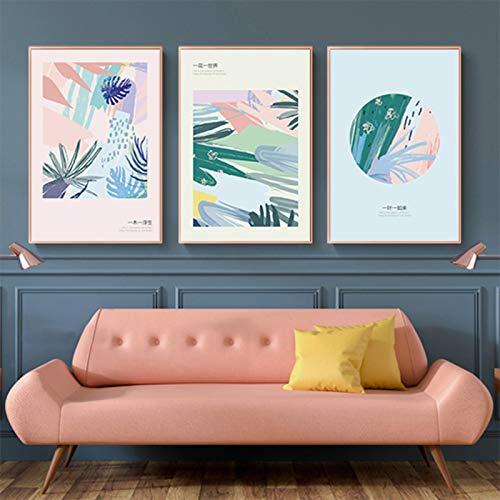 Cuadro sobre lienzo para pared, moderno, minimalista, nórdico, abstracto, flores, carteles e impresiones, pared para decoración de sala de estar, 23,6 x 31,4 pulgadas (60 x 80 cm), 3 piezas sin marco