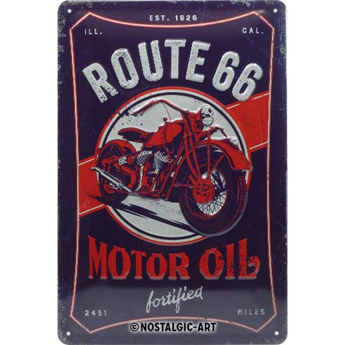 Nostalgic-Art 22315 - US Highways - Route 66 motorolie, metalen bord 20 x 30 cm