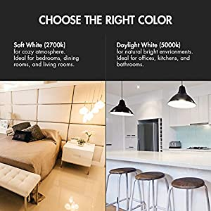 Tenergy 9WLED Bulb60 Watt EquivalentA19 LED Light Bulbs,E26Household Lightbulb,750 LumensEnergy Saving LampSoft/Warm White 2700K Lights, 220°Beam Angle, 6-Pack