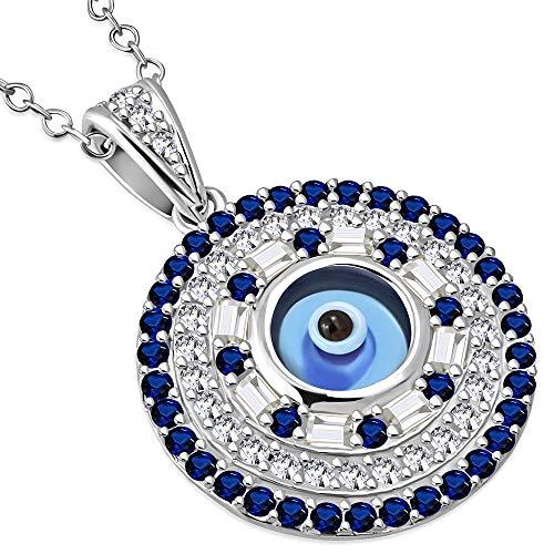925sterling argento bianco blu CZ Evil eye Protection Pendant Necklace