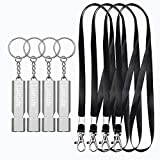 Luxtude Emergency Whistle Survival Whistle with Lanyard, 2&4 Pack Safety Whistles High Pitch Double Tubes Loud Whistle, Metal Hiking Whistle Rape Whistle Keychain for Camping/Hiking/Outdoor Activities