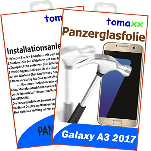 tomaxx Panzerglas für Samsung Galaxy A3 (2017) Panzerglasfolie - Glasfolie Displayschutz Brillante - Qualität (Achtung: bewusst Kleiner als das Display, da Dieses an Rand gewölbt ist)